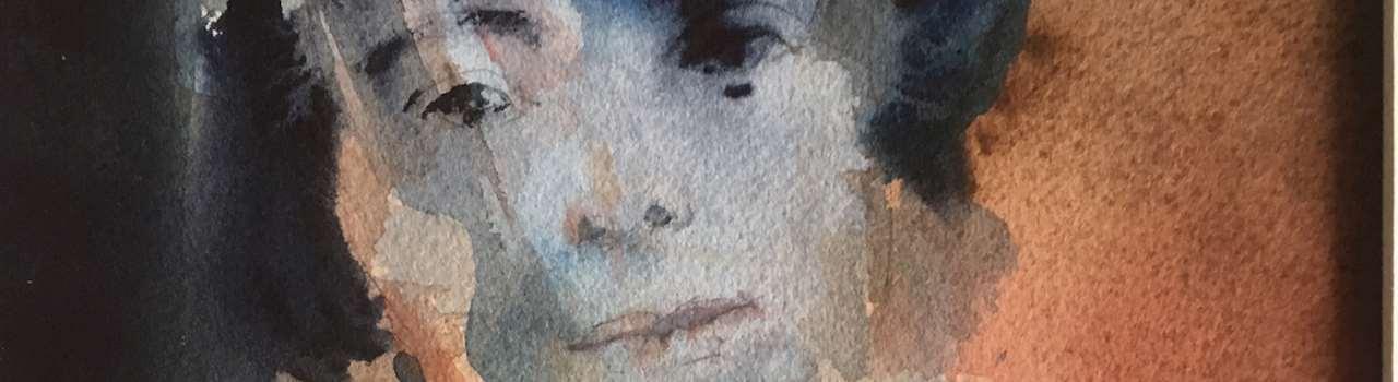 Kvinnoporträtt i akvarell av Leif Ruhnström