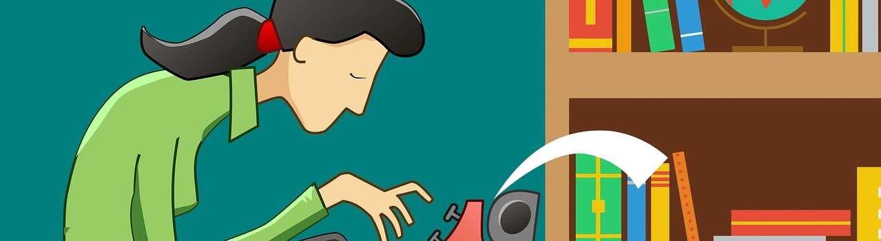 Illustration av en person som sitter och skriver på maskin. Över huvudet på personen hänger en lysande glödlampa.